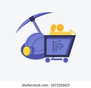 Cryptocurrency concept of mining and coins. Symbol of pick and helmet and bitcoin coin in truck in flat design