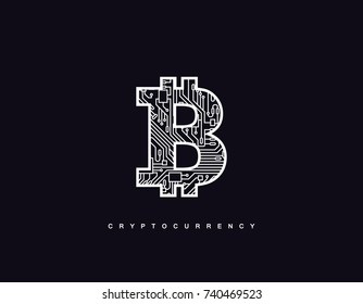 Cryptocurrency concept. Outline bitcoin sign textured with circuit board pattern. Vector futuristic illustration with blockchain technology based crypto currency. Financial concept. Virtual money