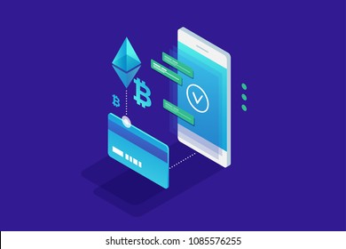 Cryptocurrency concept. Payment by cryptocurrency Ethereum and bitcoin. Perfect for web design, banner and presentation. Isometric vector illustration.