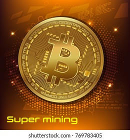 Cryptocurrency concept. template advertising banner. Golden bitcoin digital currency, text Super Mining. vector illustration