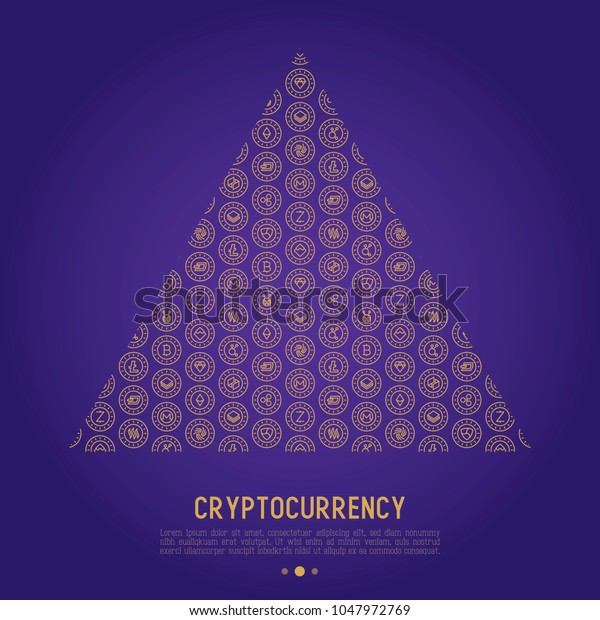 Cryptocurrency concept in triangle with thin line icons: Bitcoin; Ethereum; Ripple; Litecoin; Dash; NEM; ubiq; IOTA; Monero. Modern vector illustration for web page template, banner.