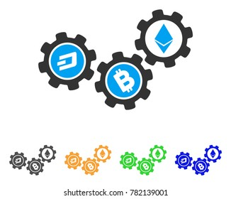 32c96aa17938 Cryptocurrency Conversion Gears icon. Vector illustration style is a flat  iconic cryptocurrency conversion gears symbol