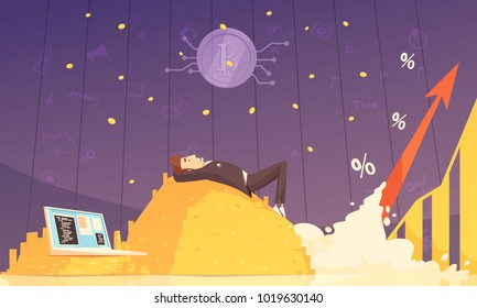 Cryptocurrency design composition with businessman lying on heap of bitcoins and dreaming of riches flat vector illustration