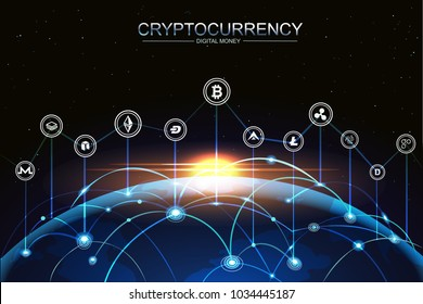 Cryptocurrency and digital money technology concept vector background. blockchain, bitcoin, node, networking above the planet Earth with Sunlight.