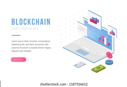 Cryptocurrency exchange and blockchain isometric composition. Good for landing page template and infographics vector illustration