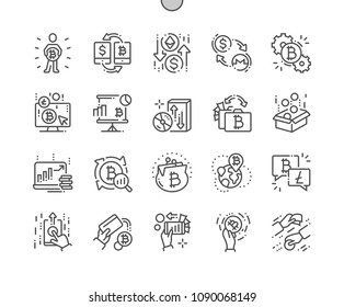 Cryptocurrency exchange platform Well-crafted Pixel Perfect Vector Thin Line Icons 30 2x Grid for Web Graphics and Apps. Simple Minimal Pictogram