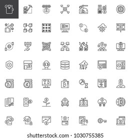 Cryptocurrency and fintech outline icons set. linear style symbols collection, line signs pack. vector graphics. Set includes icons as cryptocurrency; fintech; blockchain; crypto; digital, bitcoin