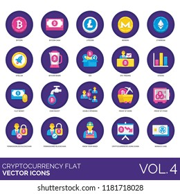 Cryptocurrency flat icon set. Bitcoin, cash, litecoin, monero, ethereum, stellar, mixer, otc trading, fiat money, coin faucet, double spending, proof of work, stake, blockchain, know your miner.