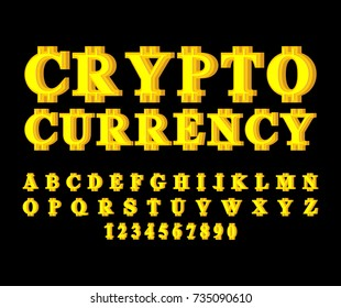 Bitcoin Alphabet Web Money Letter Vector Illustration