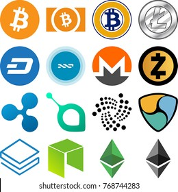 Cryptocurrency Icon Collection - Bitcoin, Bitcoin Cash, Bitcoin Gold, Litecoin, Dash, NXT, Monero, Zcash, Ripple, Siacoin, IOTA, NEM, Stratis, NEO, Ethereum Classic, Ethereum