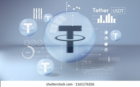 Cryptocurrency icon and info graphic with buble style on blue background:Tether icon