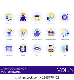 Cryptocurrency icons including heater, fud, crypto education, coin creator, asic miner, block height, fork, buy, market, distributed ledger, wallet address, dapp, dao, hodl.