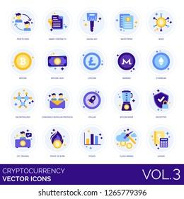 Cryptocurrency icons including peer-to-peer, contract, digital key, paper, node, litecoin, monero, ethereum, decentralized, consensus modular protocol, stellar, mixer, encrypted, OTC, stocks, ledger.