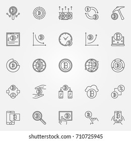 Cryptocurrency icons set. Vector crypto currency modern concept symbols in thin line style