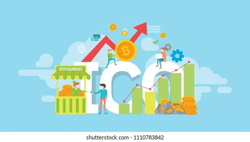 Cryptocurrency Initial Coin Offering Tiny People Character Concept Vector Illustration, Suitable For Wallpaper, Banner, Background, Card, Book Illustration, And Web Landing Page Concept