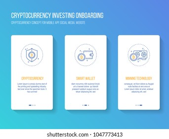 Cryptocurrency investing onboarding mobile app walkthrough screens modern, clean and simple concept. vector illustration template for mobile apps social media or website.