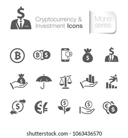 Cryptocurrency & investment icons