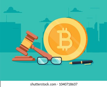 Cryptocurrency legislation flat isometric vector concept. Signed document with bitcoin and gavel on it. Exchange and crafting of money in blockchain law legacy illustration. Prohibition of ICO