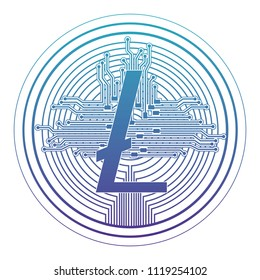 cryptocurrency litecoin coin with circuit lines