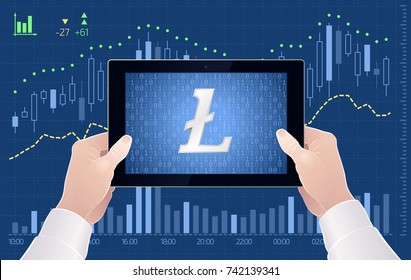 Crypto-Currency Of Litecoin - Stock Exchange Trading Via Mobile App. Graphic illustration on the subject of 'Crypto-Currencies Stock Exchange'.