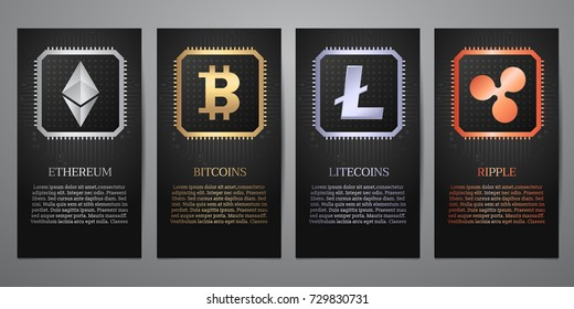 Cryptocurrency Logo on electric circuit, Black banner, Vector illustration.