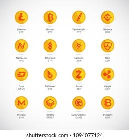 Cryptocurrency logo set - bitcoin, litecoin, ethereum, monero, ripple, zcash, dash, stratis, nem, featerhcoin, binance, namecoin, cardano, bitshares, bytecoin. Golden coins with Cryptocurrency symbols