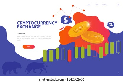 Cryptocurrency market illustration. Great as Cryptocurrency site wireframe, Bitcoin business web page, crypto currency conference poster or ticket template.