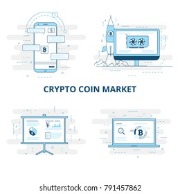Cryptocurrency Market word concept illustration with outline icons for presentation, website
