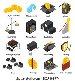 Cryptocurrency Mining Blockchain 3d Icons Set Isometric View Include of Farm, Wallet, Private Key, Pool and Asic. Vector illustration