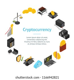 Cryptocurrency Mining Blockchain Banner Card Circle Isometric View Include of Farm, Wallet, Private Key, Pool and Asic. Vector illustration