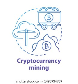 Cryptocurrency mining blue concept icon. Electronic money idea thin line illustration. Cryptomining, blockchain technology. Digital currency. Stock market. Vector isolated outline drawing