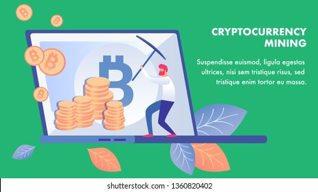 Cryptocurrency Mining Business Banner Template. Bitcoin Miner Working with Pickaxe Cartoon Character. Coin market Capitalization Monitoring. Virtual Money Earning Illustration with Text Space