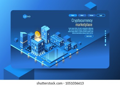 Cryptocurrency mining concept. Money or crypto currency decorative vector illustration.