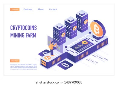 Cryptocurrency mining farm. Bitcoin financial transactions, Digital currency. Crypto mining, blockchain 3d concept. Crypto currency market landing page vector illustration.