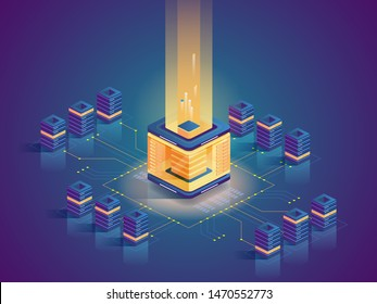 Cryptocurrency mining flat isometric illustration. Computer equipment, server farm architecture, computing power. Blockchain technology, modern business, e commerce. Virtual money, electronic currency