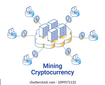 Cryptocurrency mining illustration in linear isometric style. Minimal art line. Cloud mining concept.