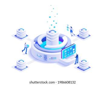 Isoometrisches Konzept für den Abbau von Kryptowährungen. Das Team arbeitet auf dem Markt für digitales Geld-Mining-Farm und Blockchain-Technologie, Finanzinstrumenten, Bitcoin. Vektorgrafik in Isoometrie-Design