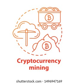 Cryptocurrency mining red concept icon. Electronic money idea thin line illustration. Blockchain technology. Digital currency transaction. Bitcoins. Vector isolated outline drawing.