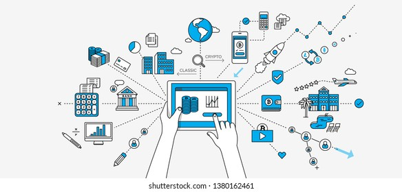 Cryptocurrency / online money investment infographics. Internet of things concept. Modern illustration in linear style.