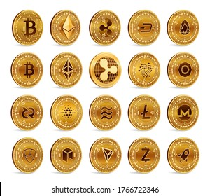 Cryptocurrency physical coins set.
