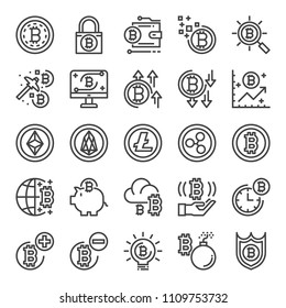 cryptocurrency pixel perfect icons, vector line editable stroke (48x48)