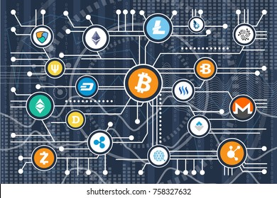 Cryptocurrency poster representing lots of icons of different currencies and symbols, connected together with help of lines on vector illustration