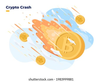 Cryptocurrency price fall down. Crypto price collapse at Stock exchange market. Bitcoin crisis. Crypto coin burning and crash. Cryptocurrency investment is high risk.