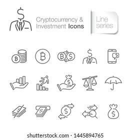 Cryptocurrency related icons. Finance, Insurance.