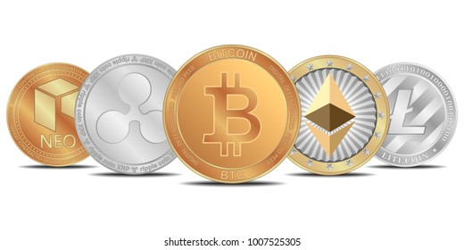 Cryptocurrency set. Bitcoin, Etherium, Ripple, NEO, Litecoin.