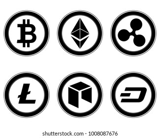 Cryptocurrency set. Bitcoin, Etherium, Ripple, NEO, Litecoin, Dash.