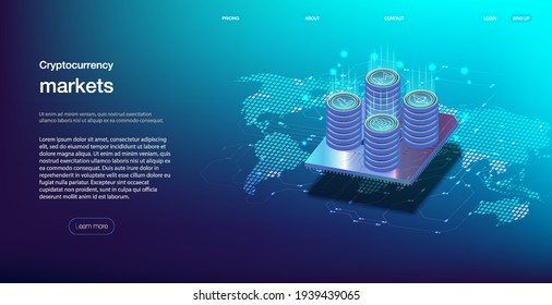 Cryptocurrency оnline statistics and data Analytics. The concept of a universal application with cryptocurrency and finance Cryptocurrency and finance. Vector