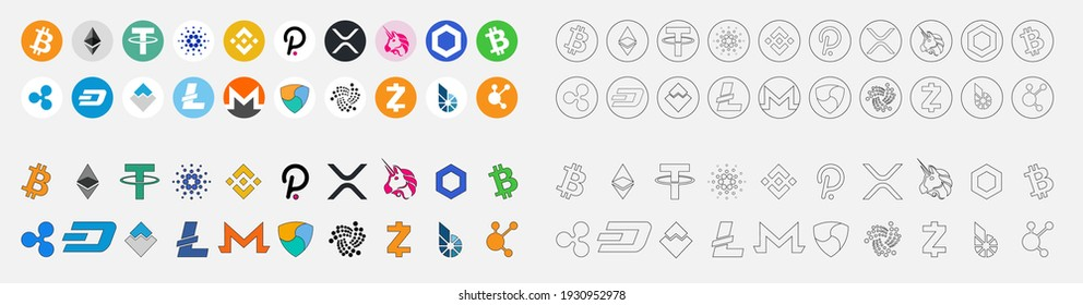 Cryptocurrency symbol, A set of coins for cryptocurrency logos: Bitcoin, Ethereum, Tether, Cardano, Binance Coin, Polkadot, XRP, Uniswap, Chainlink, Litecoin, Nom, Monro, nem, Ripple  . vector