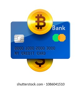 Cryptocurrency technology icon, bitcoin exchange, bitcoin mining, mobile banking. Bitcoin, credit card, dollar, vector illustration.