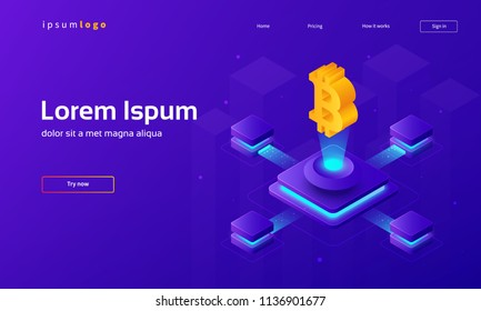 Cryptocurrency theme isometric illustration. Eps10 vector.